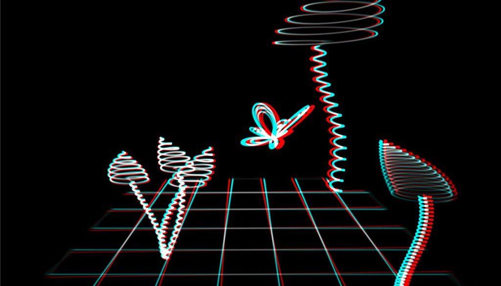anaglyph 3D mushroom landscape
